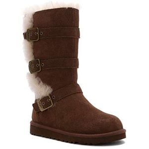 Uggs Brown Maddi Suede Leather Buckle Boots